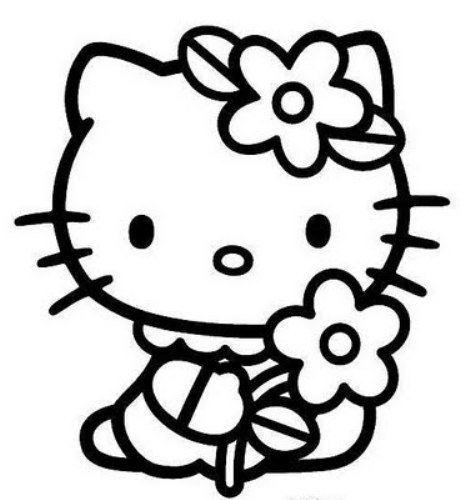 Kitty clipart black and white. Hello free wikiclipart