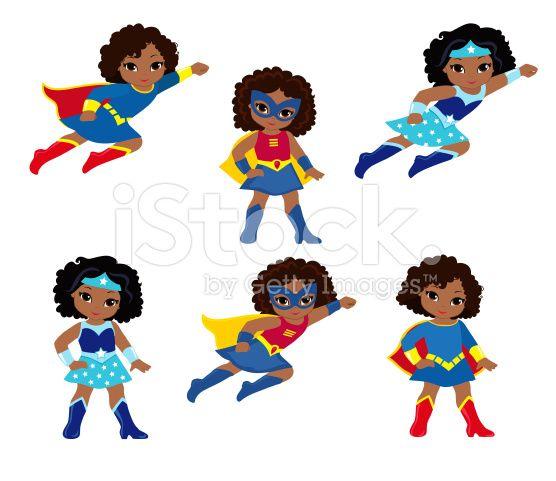 Cute girl vector clip. Hero clipart african american superhero