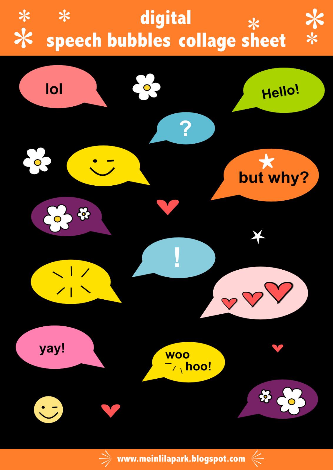 Free digital collage sheet. Hello clipart speech bubble