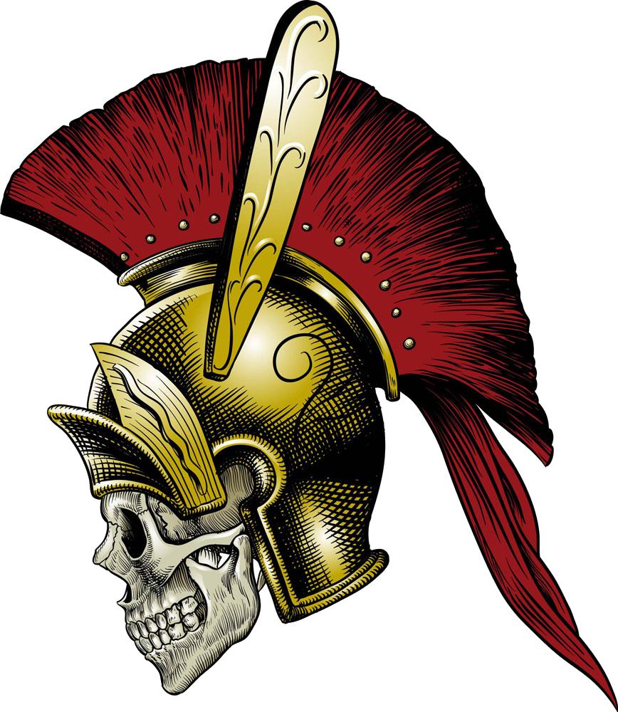 Helmet clipart gladiator. Ancient rome skull illustration