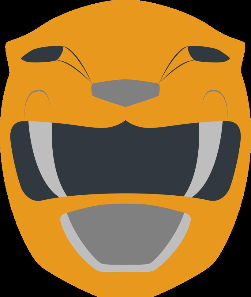 Yellow ranger power rangers. Helmet clipart orange