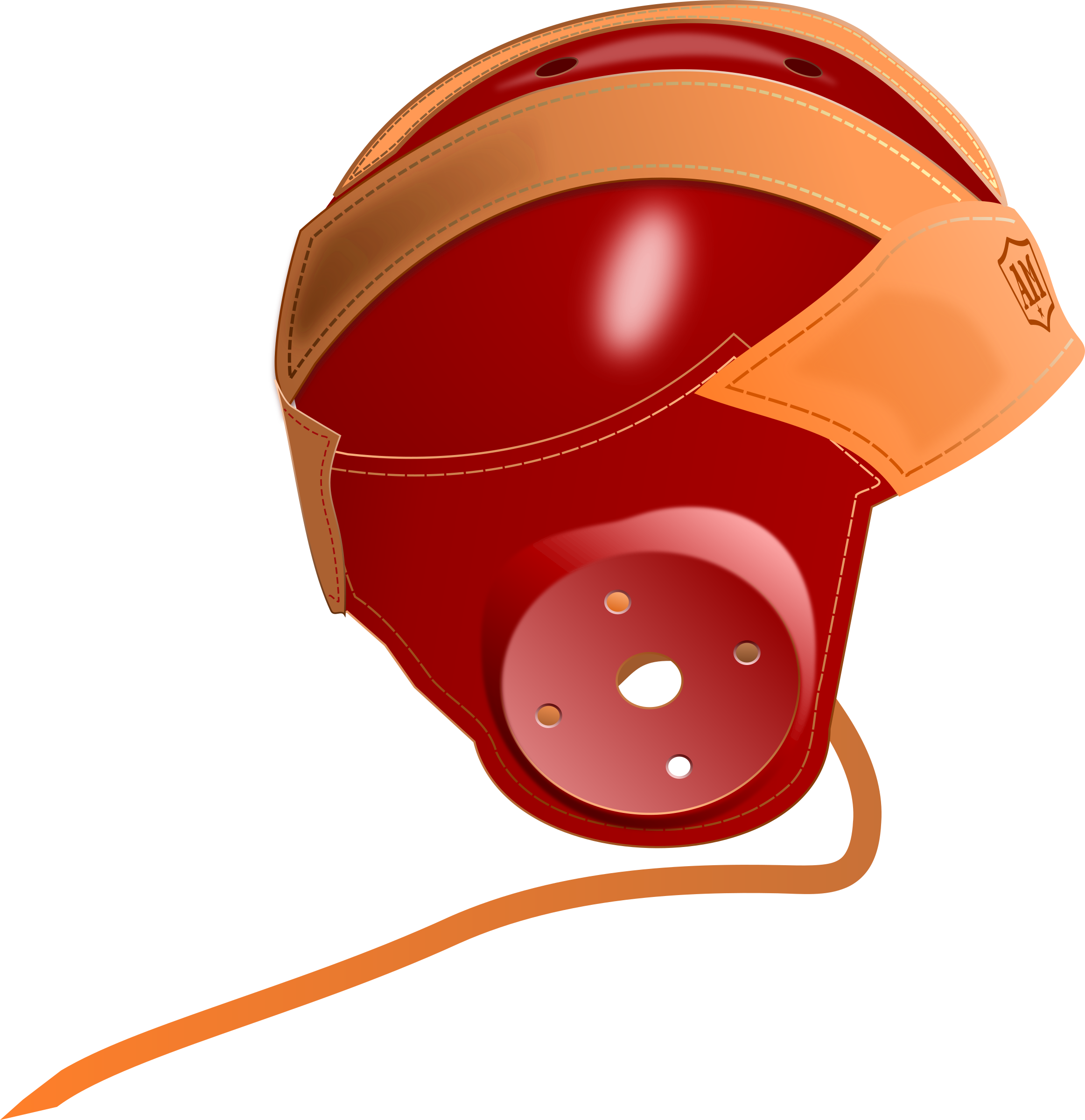 Helmet clipart orange. Vintage s leather football