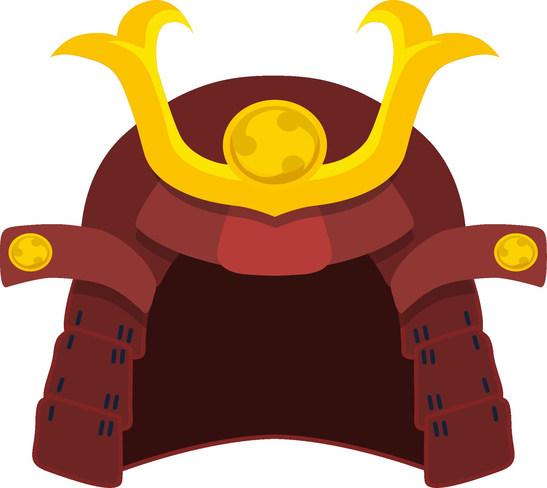 Samurai helmet kabuto clip. Warrior clipart orange