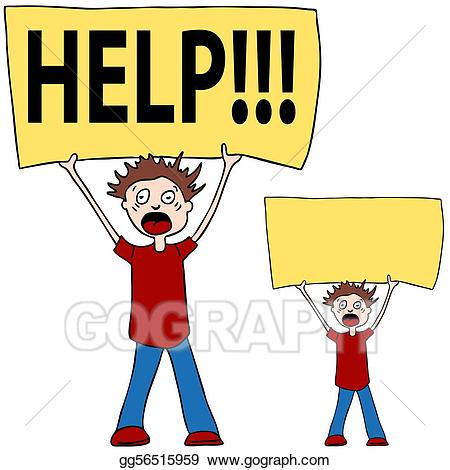Stock illustration shouting for. Help clipart
