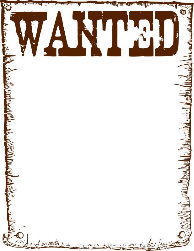 Wanted poster template clip. Western frame png