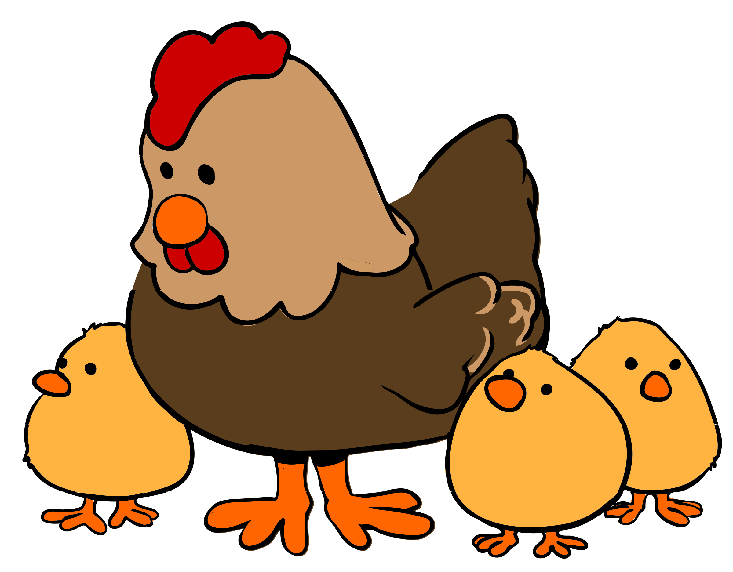Hen and chicks cartoon. Picture clipart chicken