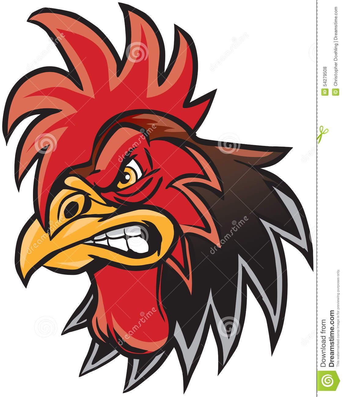 Cartoon rooster mascot head. Hen clipart angry