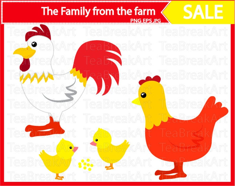 Rooster chicken and cutting. Hen clipart animal family