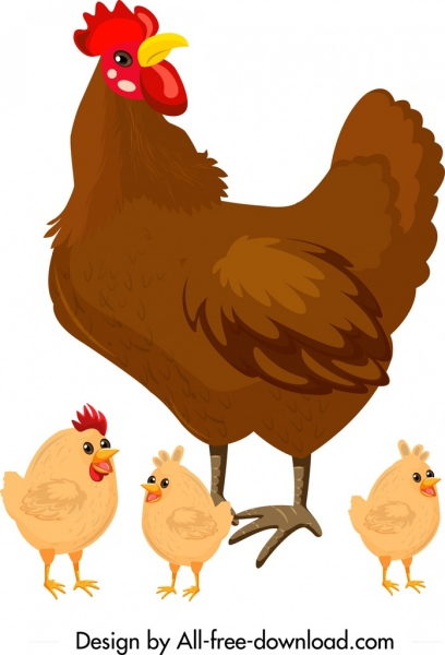 Hen clipart colorful chicken. Family painting chicks icons