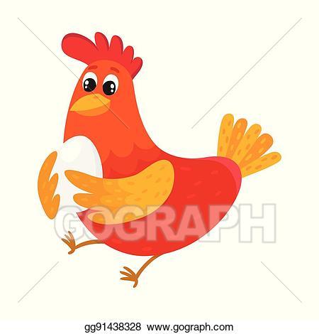 Hen clipart colorful chicken. Vector art funny cartoon