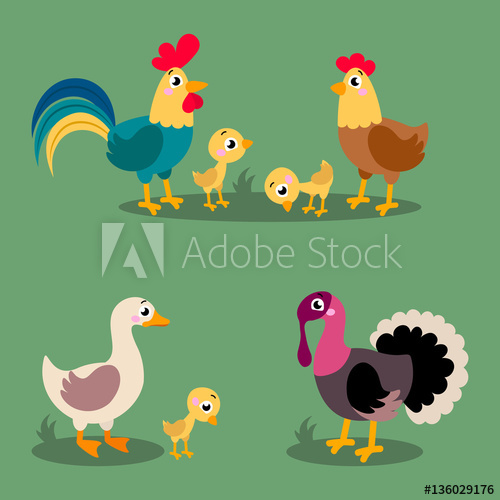 Turkeys clipart goose. Set of popular colorful