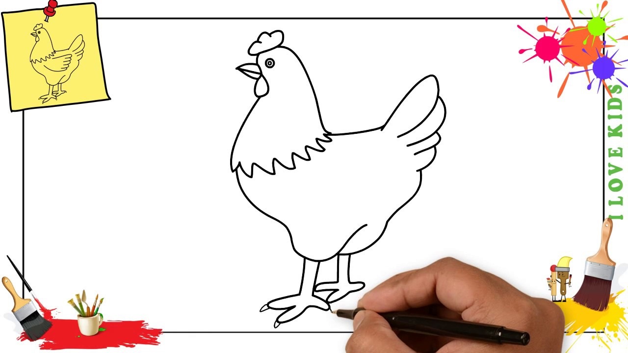 Hen clipart easy chicken. How to draw a