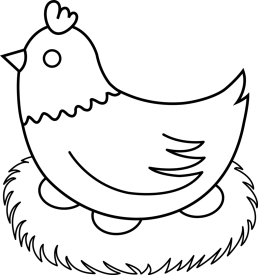 Nest clipart hen nest. Black and white clip