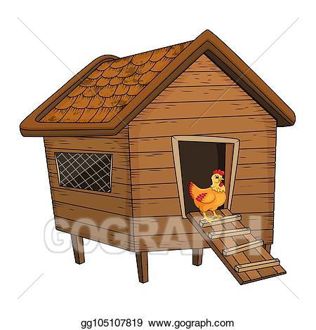 Vector art cartoon chicken. Hen clipart hut