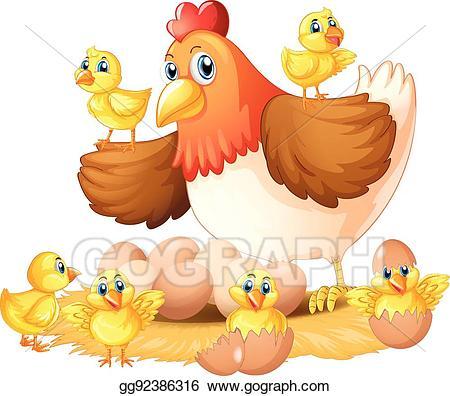 Hen clipart nest. Vector illustration and chicks