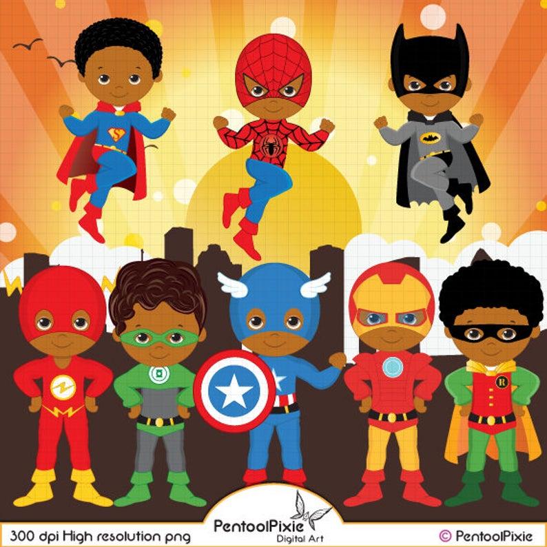 Super boys . Hero clipart african american superhero