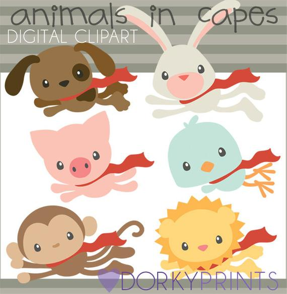 Super animals in capes. Hero clipart animal