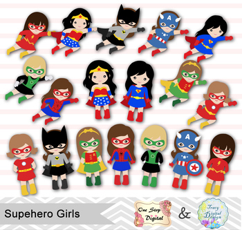 superhero girls clip. Hero clipart digital