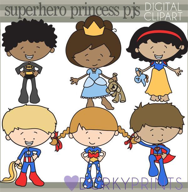 Superhero and pajama kid. Hero clipart princess