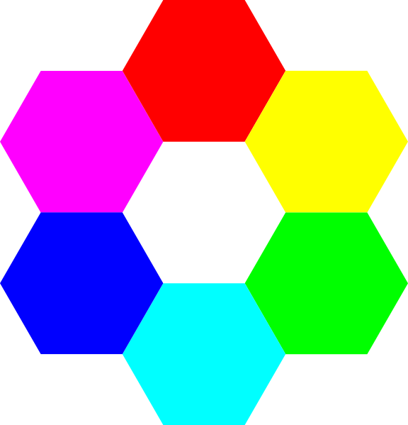 Hexagon clipart blank. Rainbow hexagons clip art