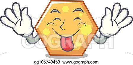 Eps vector tongue out. Hexagon clipart cartoon