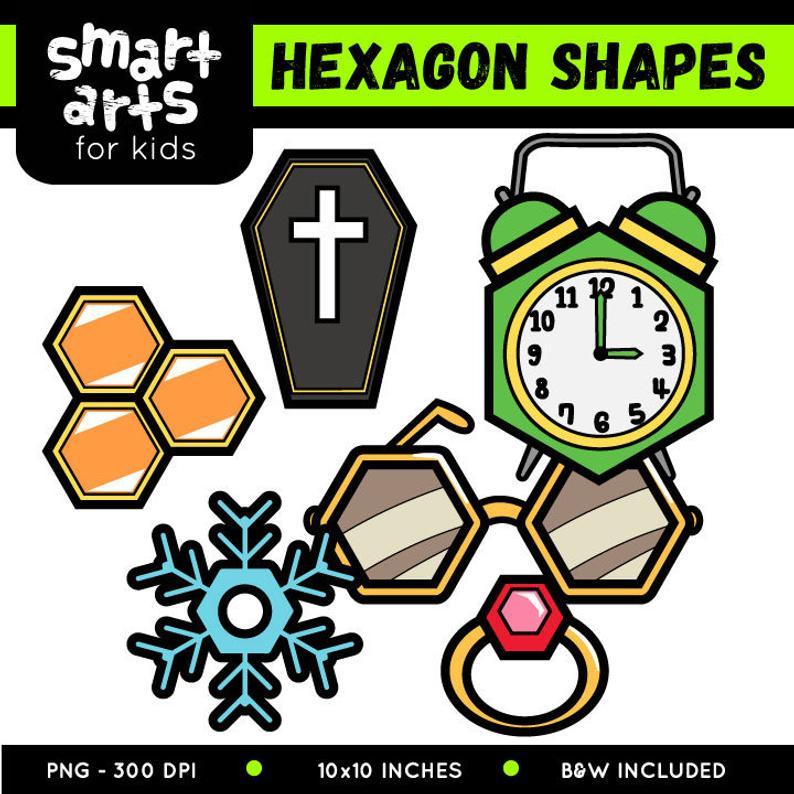 Hexagon clipart cartoon. Shapes clip art instant