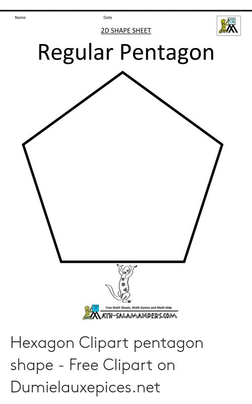 Hexagon clipart math. Name date d shape