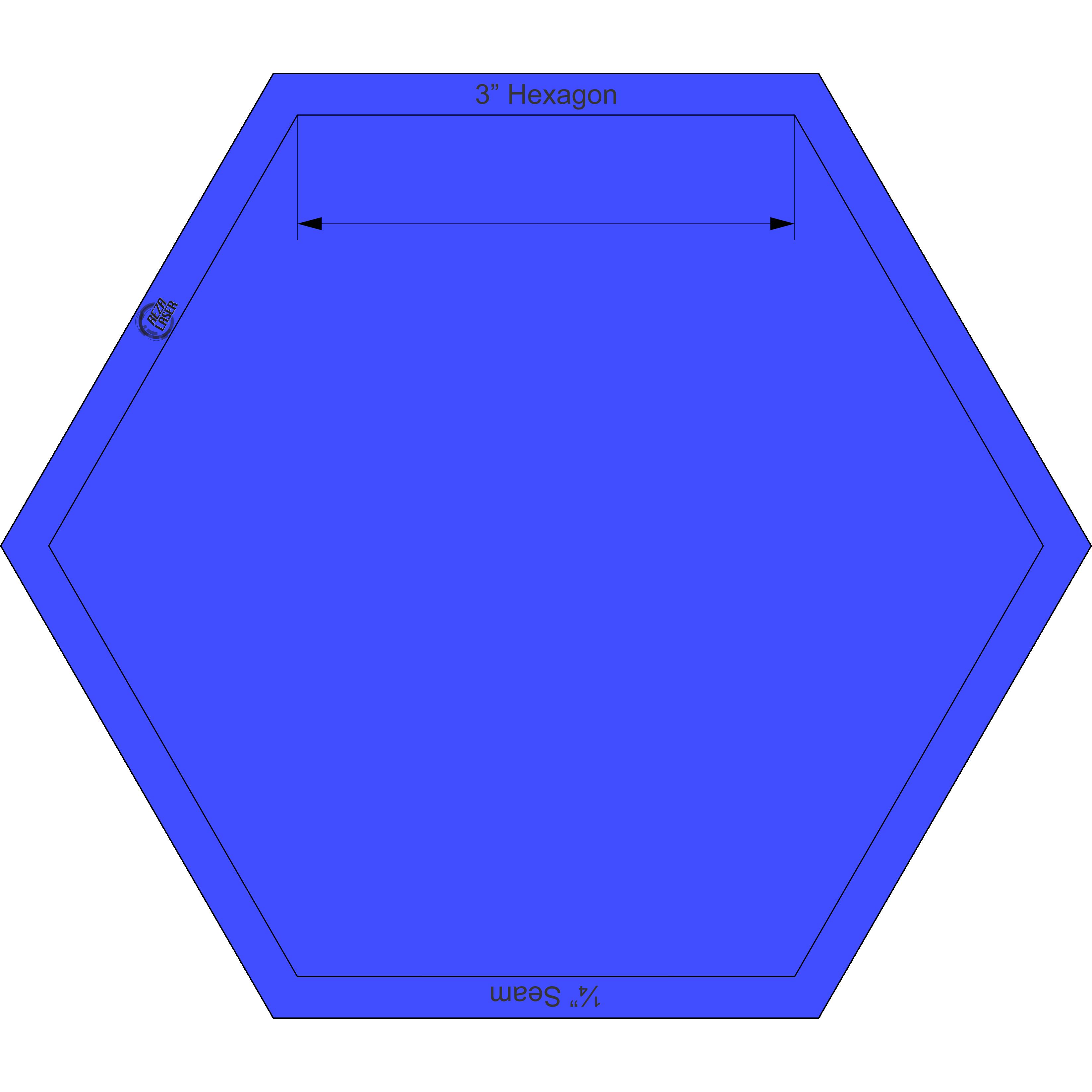 Hexagon clipart rectangular. Inch acrylic template solid