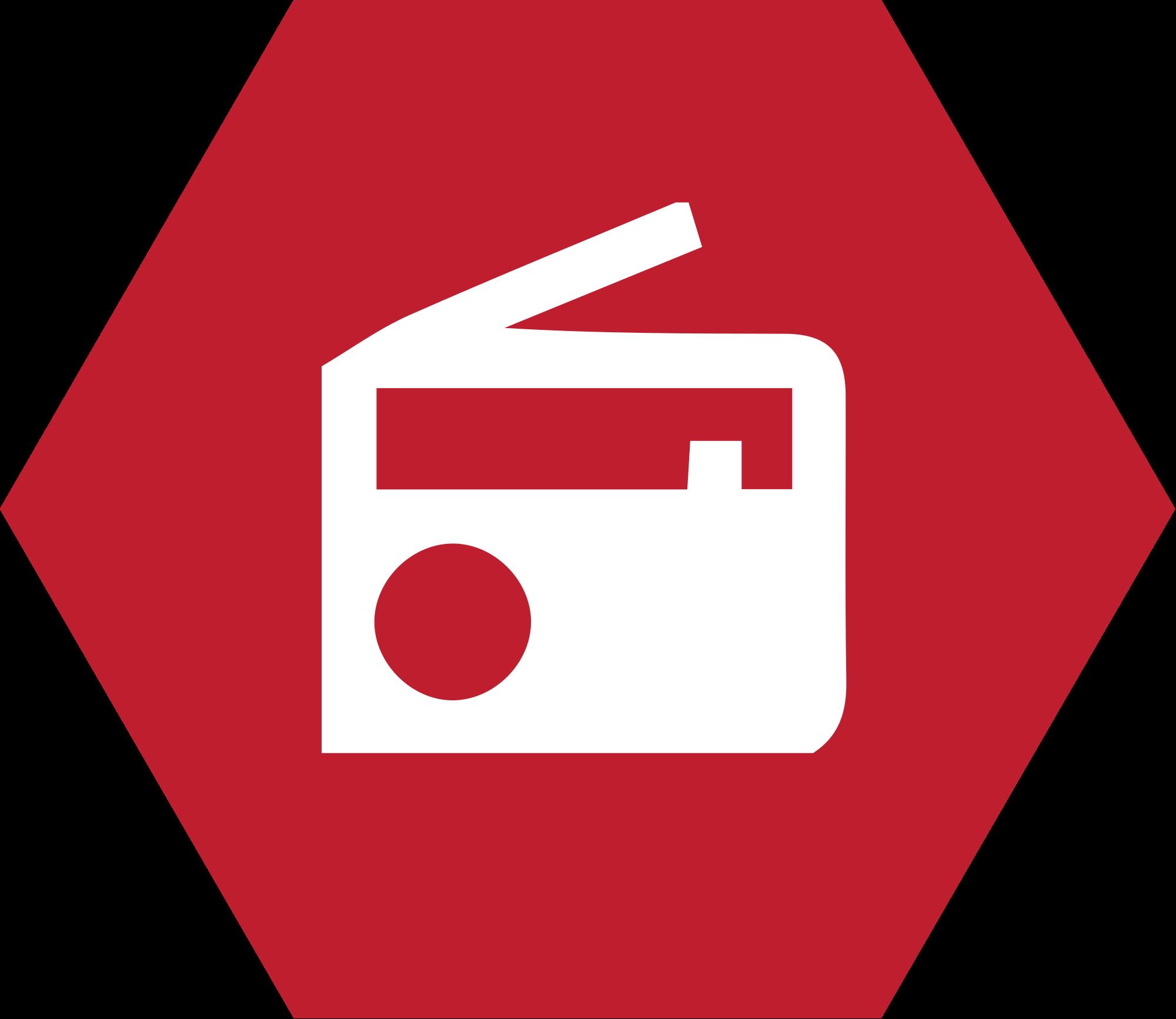 File radio icon svg. Hexagon clipart red