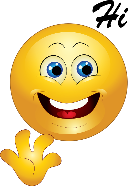 Hi clipart. Yellow happy smiley emoticon