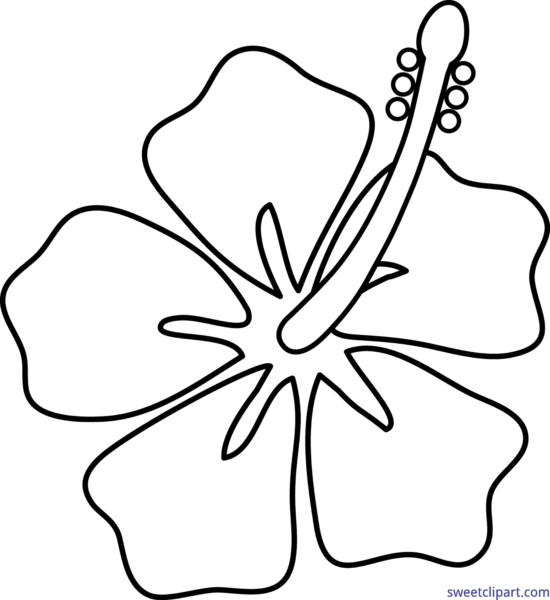 Hibiscus clipart black and white. Sweet clip art page