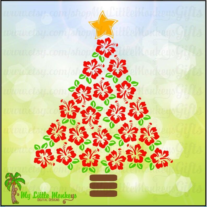 Tree design digital instant. Hibiscus clipart christmas