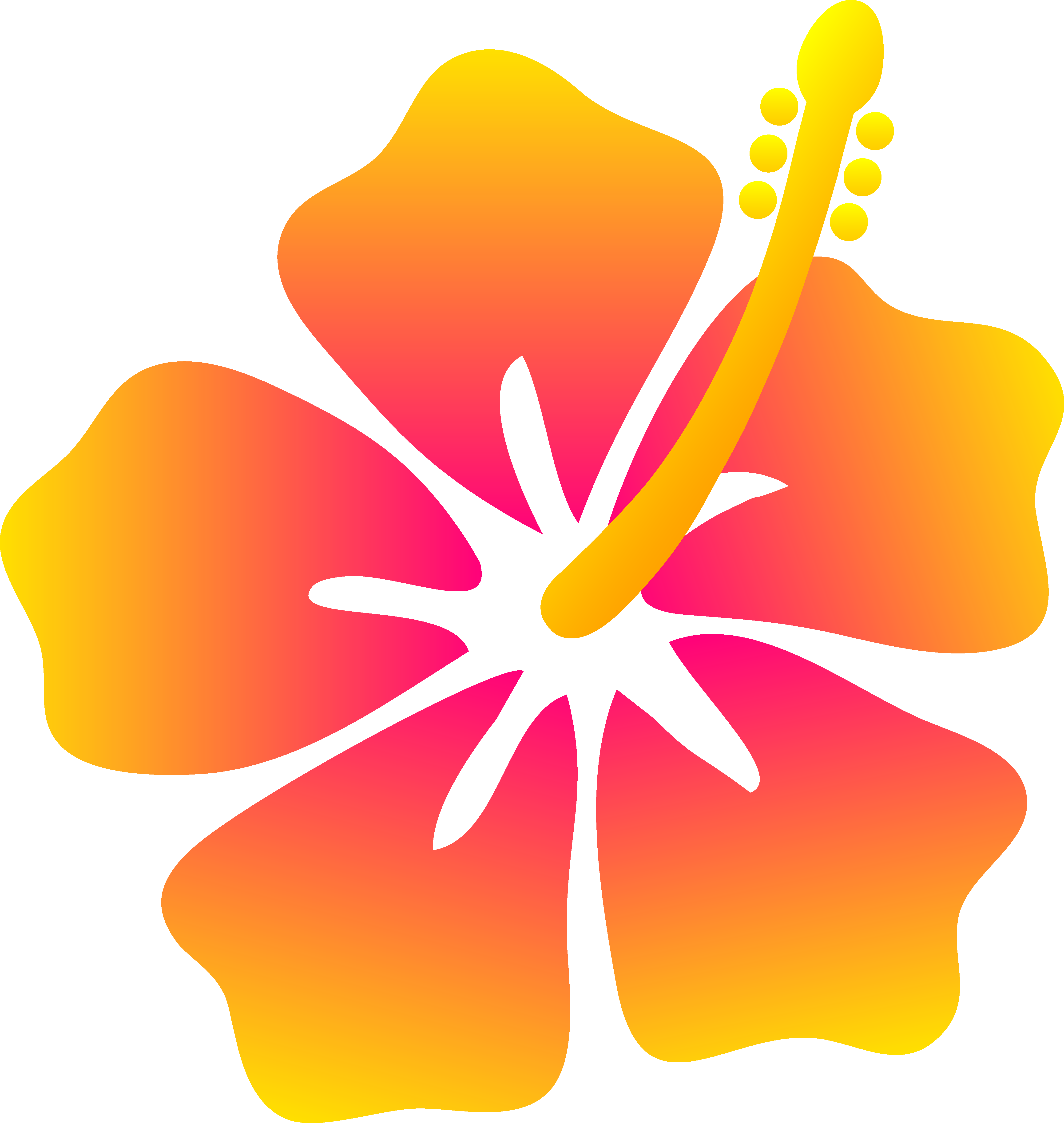 Pink and yellow flower. Hibiscus clipart cute