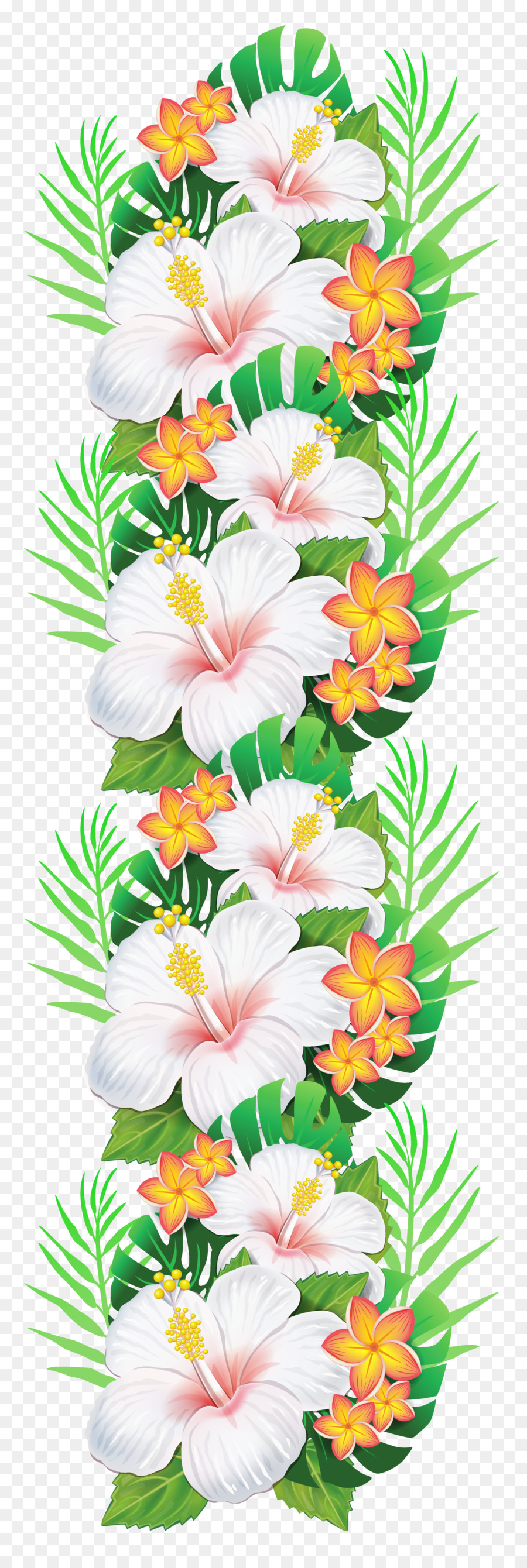Hibiscus clipart garland. Floral flower background transparent