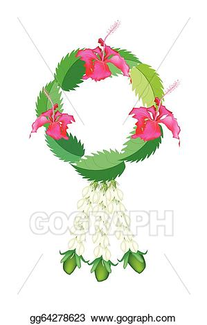 Hibiscus clipart garland. Eps vector fresh jasmine