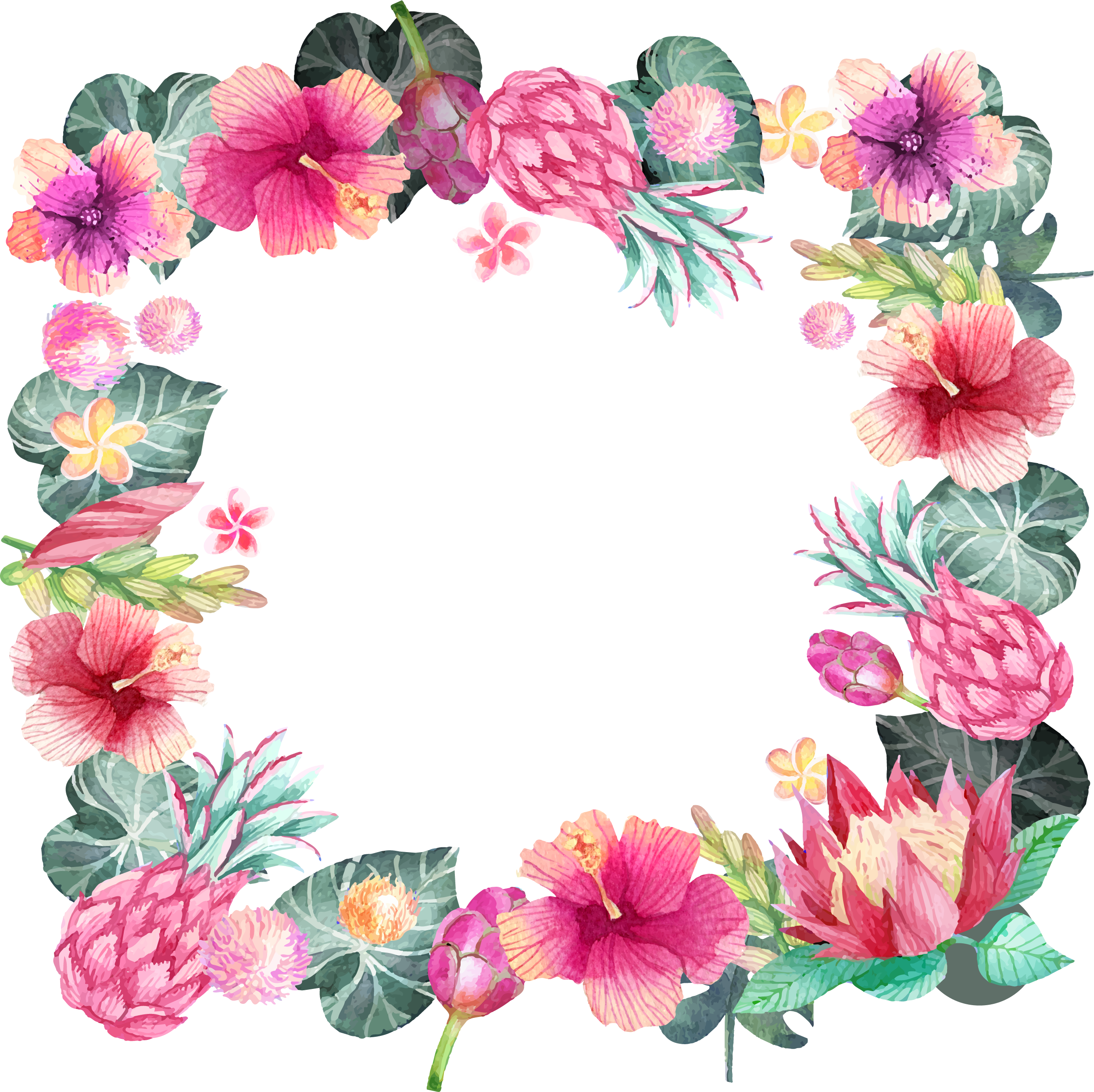 Hibiscus clipart hand drawn. Romantic watercolor painted flower