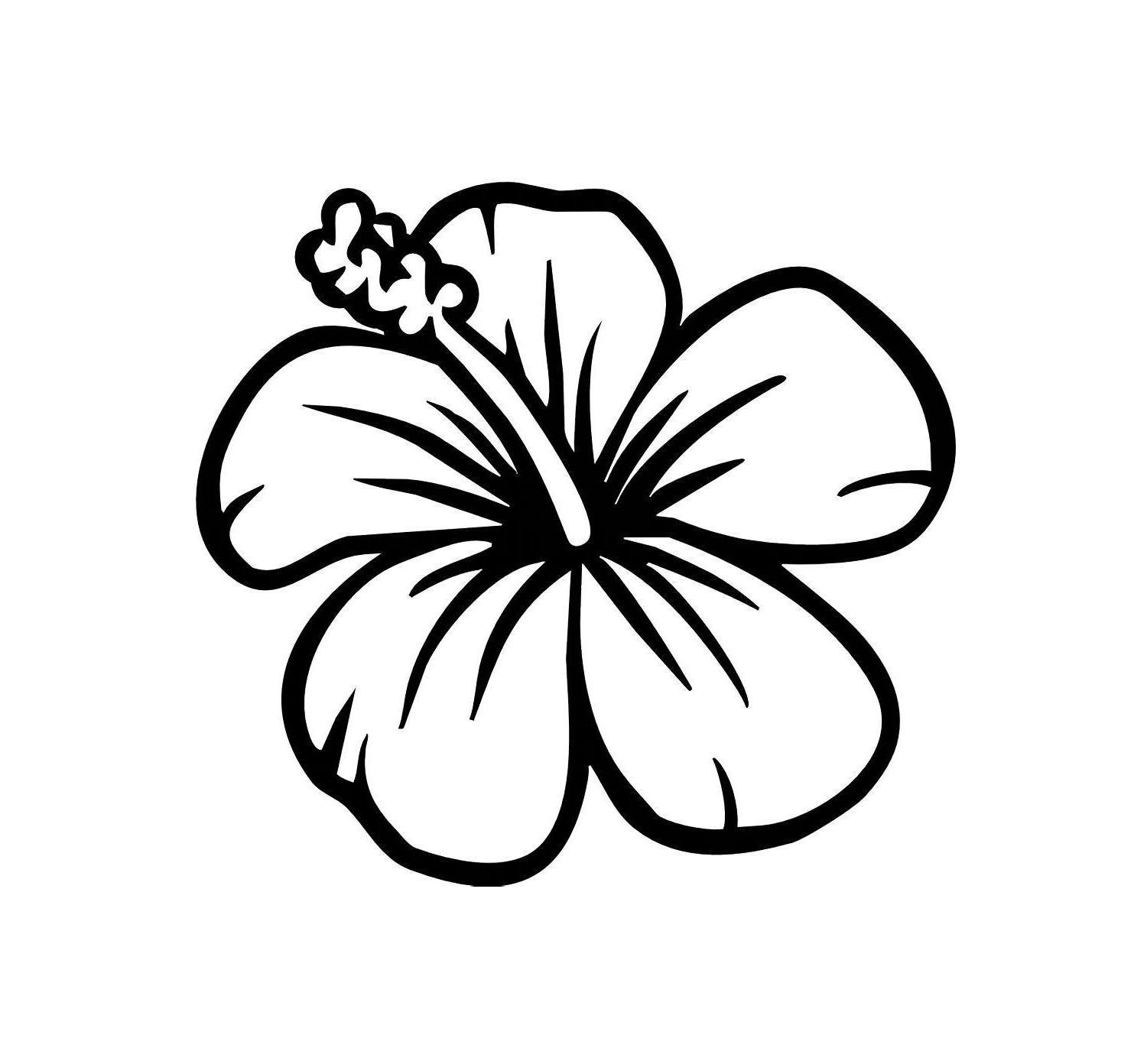Hibiscus clipart simple. Easy to draw hawaiian
