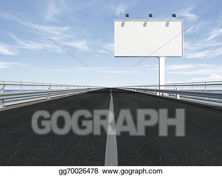Highway clipart highway line. Stock illustration blank billboard