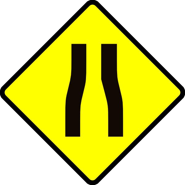 Caution narrows clip art. Trail clipart zigzag road