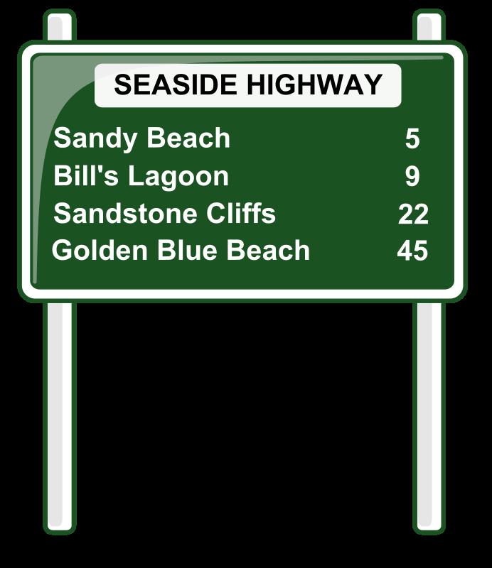 Highway clipart pathway. Road distances sign medium