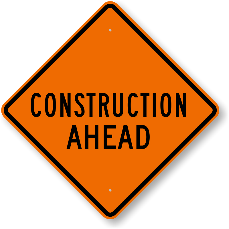 Highway clipart rough road. Work ahead sign signs
