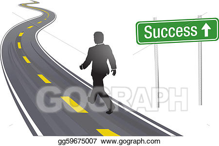 Vector illustration business man. Pathway clipart walking road