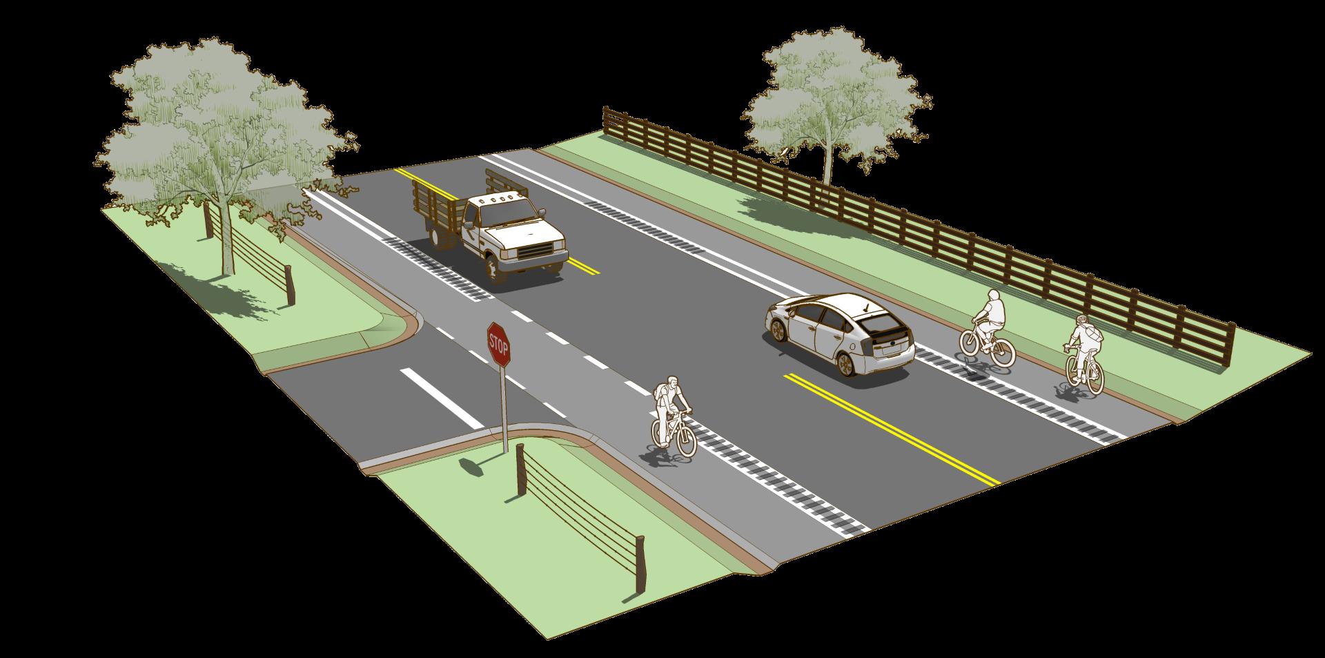 Shoulder rural design guide. Pathway clipart paved road