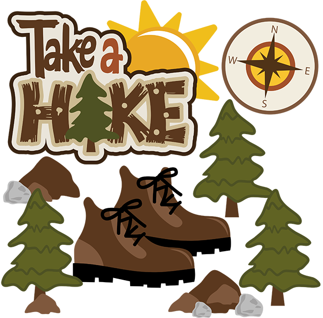 Svg scrapbook collection outdoors. Trail clipart take a hike