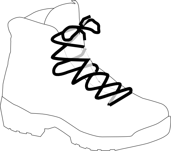 Hike clipart black and white. Hiking boots clip art