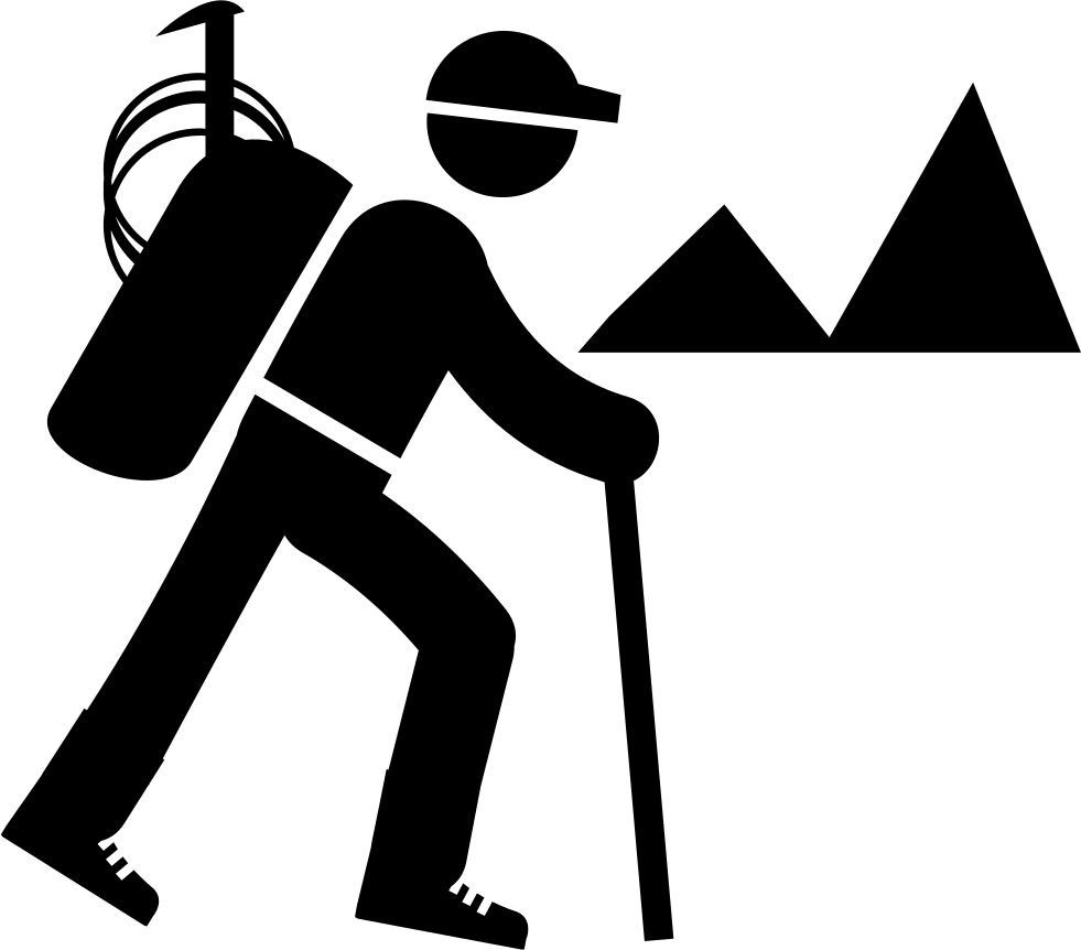 Backpacker hiking svg png. Hike clipart black and white