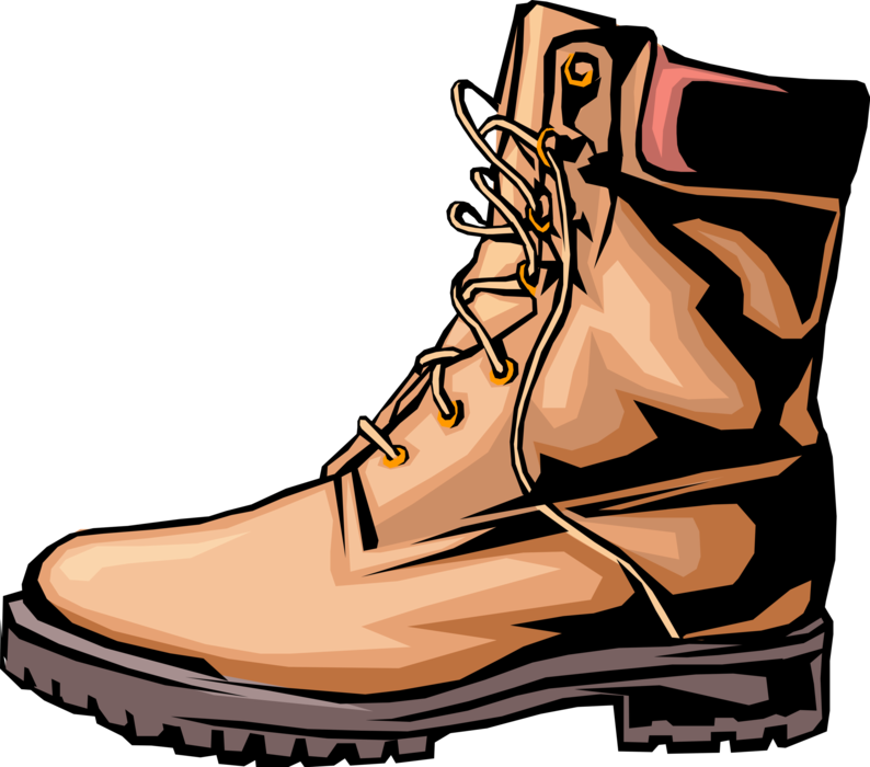 Work vector image illustration. Hike clipart brown boot
