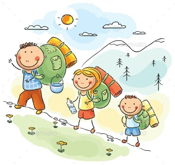 Family hiking in the. Hike clipart cartoon