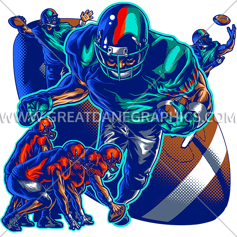 Professional clipart collage. Football production ready artwork