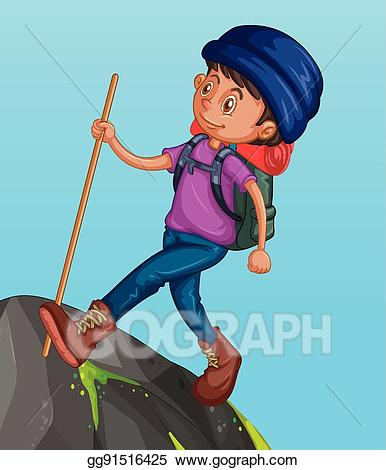 Hiker clipart mountain man. Vector hiking up the